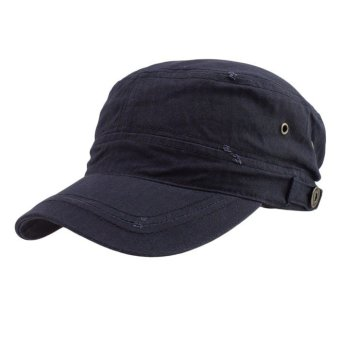 Casual Cotton Cloth Flat Top Cap DarkBlue