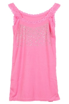 LALANG New Fashion Women Sleeveless Top Star Lace Vest (Pink)