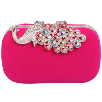 Elegant Peacock Rhinestone Crystal Clutch Bag Velvet Cocktail Evening Handbag Rose Red