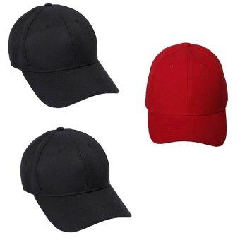 Bộ 3 mũ lưỡi trai trơn cá tính My Style GT 247 (1 đỏ+ 2 Đen)