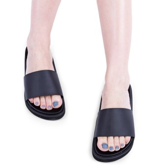 Pure Color Open Toe Slip On Ladies Casual Flat Slippers(Black) - intl