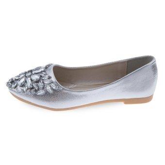 Stylish Rhinestone Pointed Toe Slip On Flat Shoes(Sliver) - intl