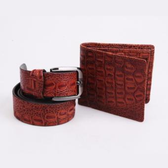 Bộ ví da dây nịt da bò cao cấp ICHI V26 (Nâu