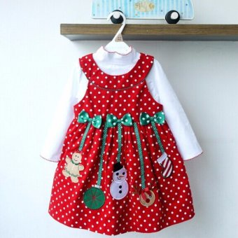 Kids Clothes New Girls Christmas Princess Dresses Red Polka Dot Autumn Long Sleeve Bow Snowman Vestidos 2 Pieces Sets - intl