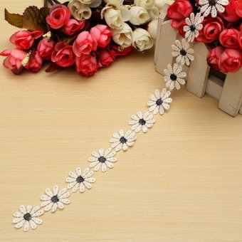 Flower Daisy Floral Bilateral Embroidered Edge DIY Lace Trim Ribbon Sewing Craft Black NEW - intl