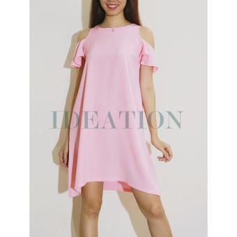 Ideation Đầm xòe A hở vai tay bèo-2423 (Hồng)