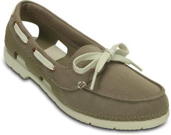 Giày lười nữ Crocs Beach Line Boat Shoe Mix Chartreuse/White 200109-3I6 (xám)
