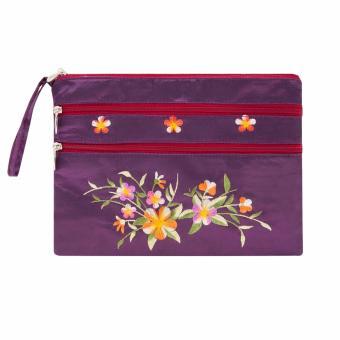 Ví cầm tay 3 khóa Hoian Gifts vải lụa thêu hoa (Tím)