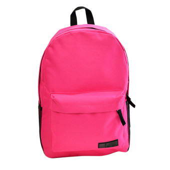 Fashion Simple Women Canvas Backpack Schoolbag Hot Pink