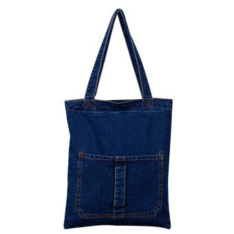 Women Girls Denim Zipper Casual Shoulder Bag Messenger Shopping Tote Bag Handbag Dark Blue