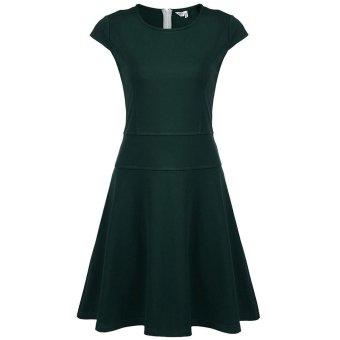 Linemart Meaneor Women Casual Round Neck Cap Sleeve Slim Flare A-Line Dress ( Dark Green ) - intl