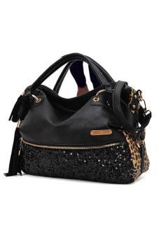 Women Ladies Large Capacity PU Leather Sequins Tassel Tote Handbag Shoulder Messenger Bag Black - intl