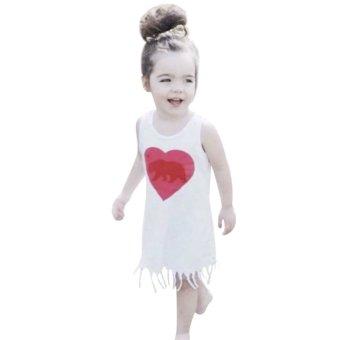 Girl Summer Clothes Sleeveless Party Tassel T-Shirt Dress(Red) - intl