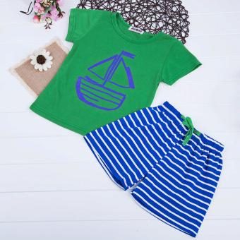 Boys T-shirt + Shorts Cartoon Printed Short Sleeve 2pcs (Green) - intl