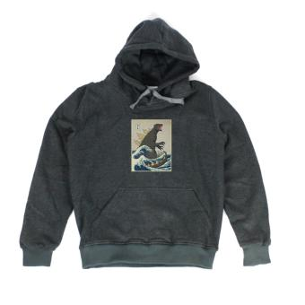 Áo khoác hoodie nam in hình The Great Godzilla (xám đậm)