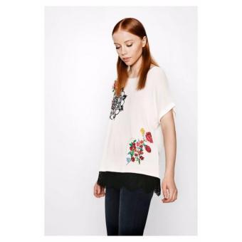 Áo Trắng Ngắn Tay Desigual T-Shirt Oporto 71T2YE71001