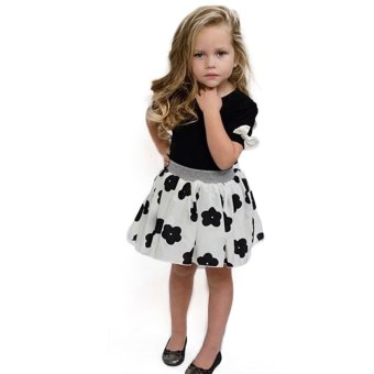 Baby Girls Clothes Set Lovely Bowknot Short sleeve T-shirt+ Cute Flower Skirt - Intl - intl