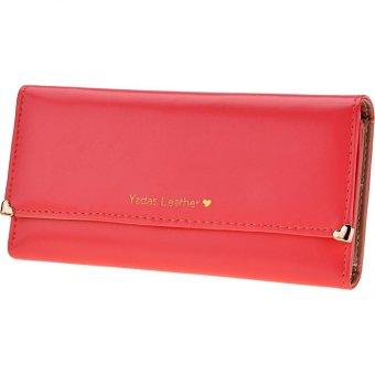 Linemart New Fashion Women's Long Wallet Button Clutch Purse Long Handbag ( Watermelon Red ) - intl