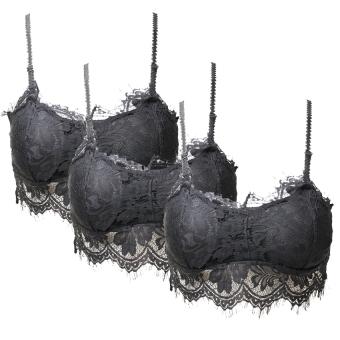 Bộ 03 Áo lót ngực pha ren 2 dây (Đen)