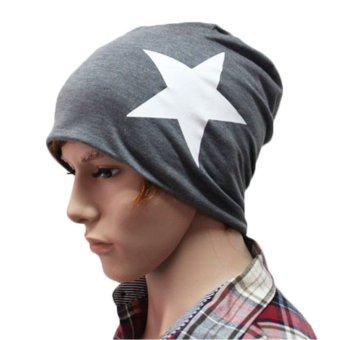 Fashion Men Women Lover Autumn Winter Cotton Beanie Ski Baggy Knit Hat Cap Star Dark Gray - intl