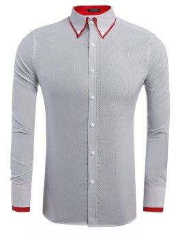 Linemart Mens Casual Long Sleeve Slim Contrast Color Dot Button Down Shirt ( White ) - intl