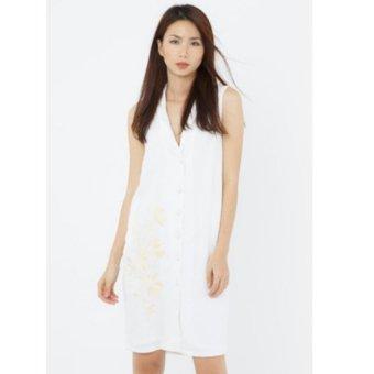 Đầm thêu Fadfashion không tay trắng F162013D
