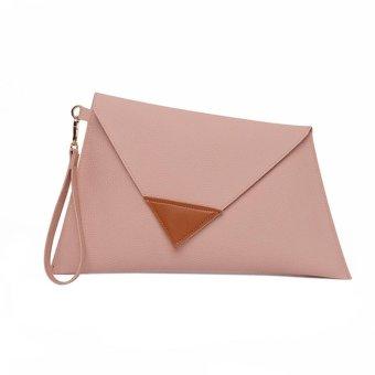 Spring Fashion Women PU Leather Hit Color Messenger Bag Shoulder Bag Clutch - intl