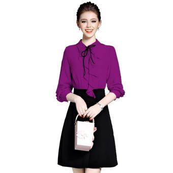 Đầm Công Sở Nữ Bèo Cổ (M,L,XL) Bui Nguyen K18 (Tím Cẩm)