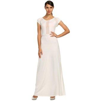 Sunweb Angvns Women Fashion Sexy High Waist Sheer Mesh Patchwork Side Split Irregular Solid Stretch Maxi Dress ( White ) - intl