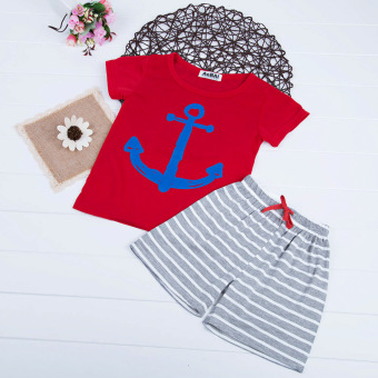 Boys T-shirt + Shorts Cartoon Printed Short Sleeve 2pcs (Red) - intl