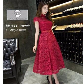 Đầm Ren Xòe Cổ Tiều Hana Fashion (đỏ đô)