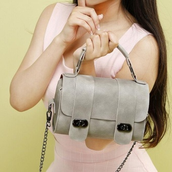 Fashion Women Leather Chain Handbag Cross Body Single Shoulder Bucket bag Gray - intl