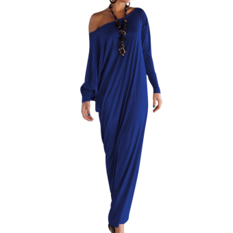 Plus Size Casual Long Sleeve Maxi Dresses Loose Party Blue - intl