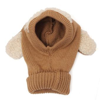 Winter Beanie Baby Kids Boy&Girl Warm Hat Hooded Scarf Earflap Knitted Wool Cap Khaki - Intl