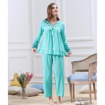 Bộ đồ ngủ cotton cao cấp mềm mại, quyến rũ ZOZO BD_6109 (Xanh)