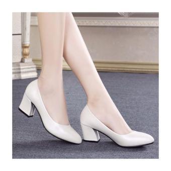Giày gót vuông cổ tim thời trang - LN653