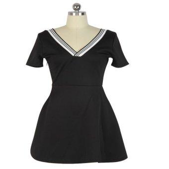 V-neck Waisted Basic Dress Office Dress(Light gray) - Intl