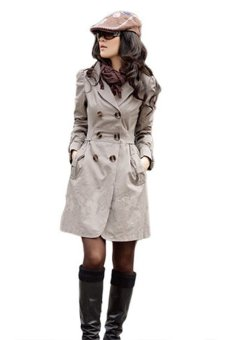 Bluelans Womens Slim Fit Trench Double-breasted Coat Jacket Outwear Light Coffee (Intl)