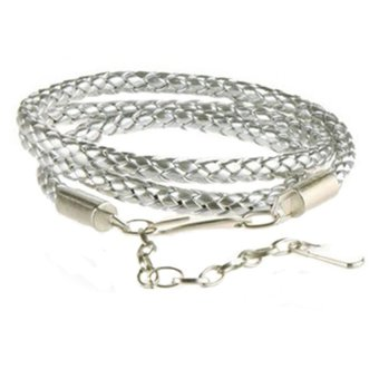 Bluelans PU Leather Skinny Belt (Silver) (Intl)