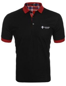 Linemart Men's 3-Button Short Sleeve Patchwork Summer Casual Polo Shirt ( Black ) - intl