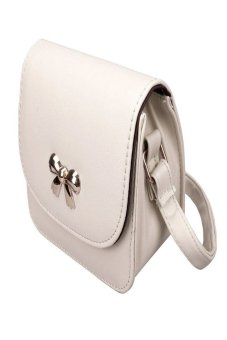 HKS Girl Lovely Bowknot Mini Adjustable Shoulder Bag Handbag Messenger White - intl