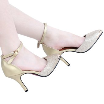Stylish Pointed Toe Thin High Heel Shoes (Golden) - intl