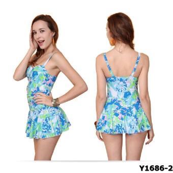 Bộ liền váy Yingfa Y1686-2 (hoa xanh)