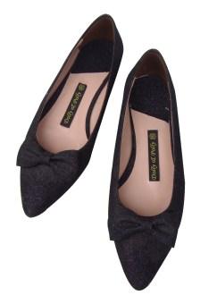 Giày mũi nhọn nhũ đen nơ thắt Dolly&Polly DL123