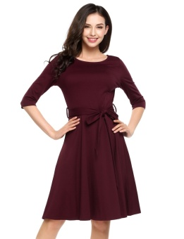 Cyber Women Round Neck Half Sleeve Solid Fit and Flare Casual Dress with Belt ( Wine Red ) - intl