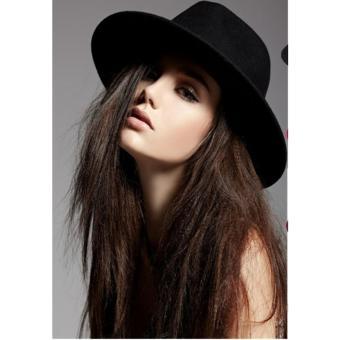 Mũ Fedora rộng vành màu đen