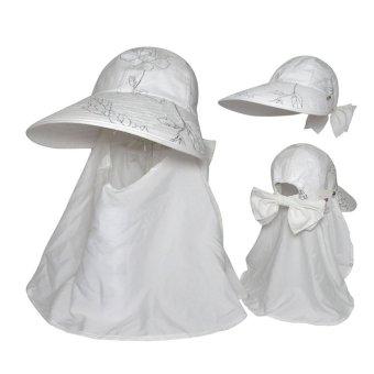 Mũ rộng vành khẩu trang chống UV Nữ LEADERSHIP 052W (Hoa văn Trắng)