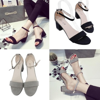 2 Pieces!! Spring And Summer Women'S Sandals With Thick Heel Design And Korean Style Women'S Strap Sandals - intl