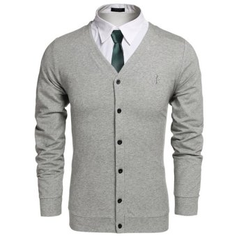 Cyber COOFANDY Men Fashion Casual V-Neck Long Sleeve Button Down Solid Cardigan (Grey) - Intl
