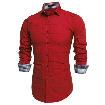 Linemart COOFANDY Men Fashion Turn Down Collar Long Sleeve Plaid Cotton Button Down Casual Shirts ( Red ) - intl